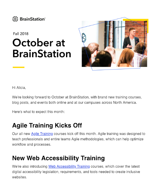 Screenshot of BrainStation website.