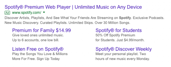 Screenshot of Spotify Google paid ad.