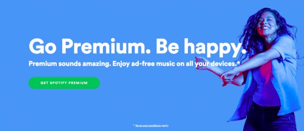 Screenshot of Spotify website.