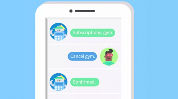 Cartoon of chatbot cancelling a gym membership for a user.
