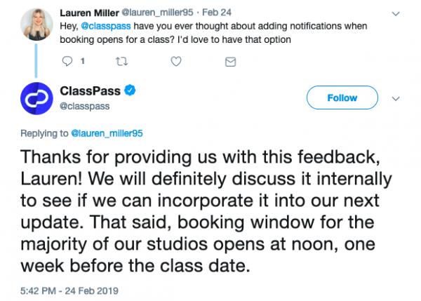ClassPass Tweet