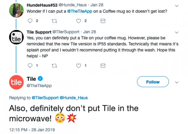 Tile Support Tweet