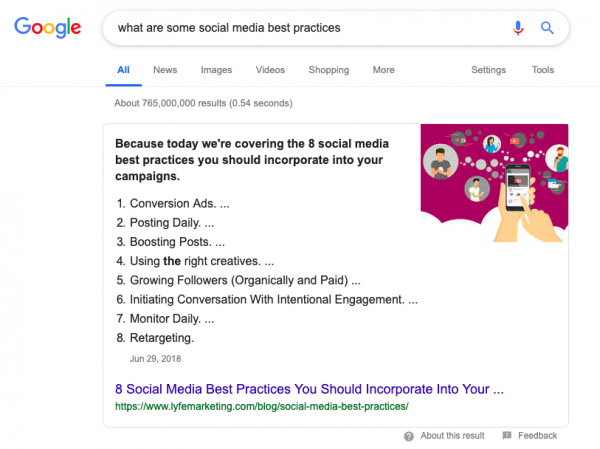 Google Search Results, what are some social media best practices