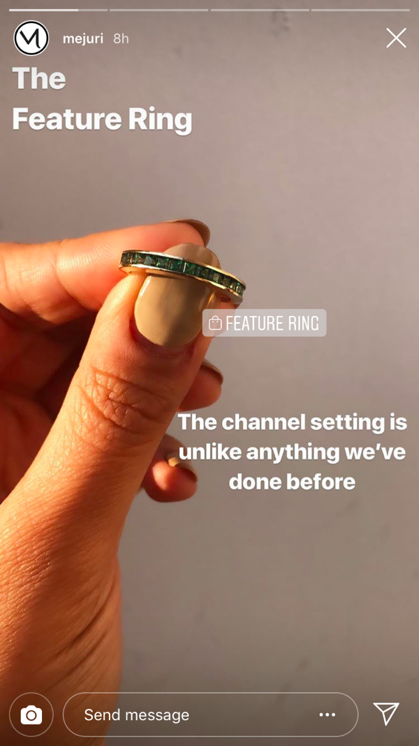 Screenshot of mejuri Instagram post - The Feature Ring.