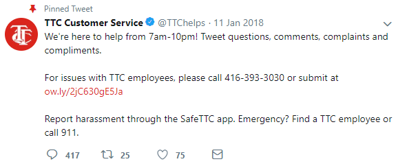 TTC Customer Service Tweet