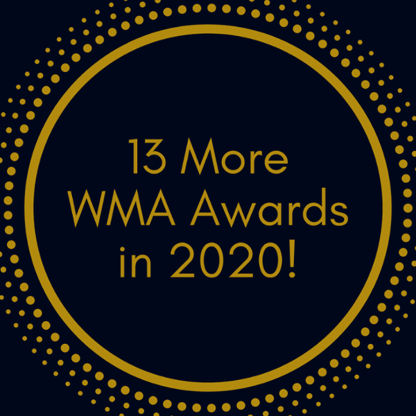 """Black and gold icon, with """"13 More WMA Awards in 2020!"""" in the middle."""