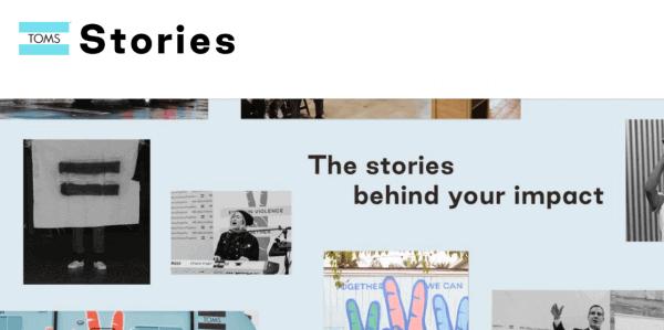 Screenshot of Toms Shoes website.