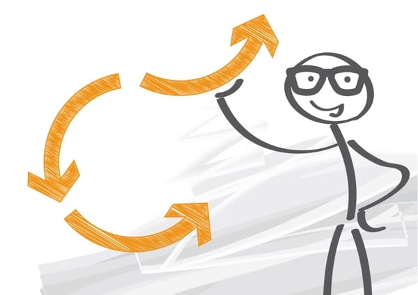 Drawing of a cartoon person, with a a series of arrows around them.