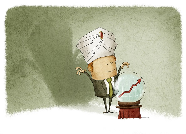 Cartoon of a man standing in front of a crystal ball.