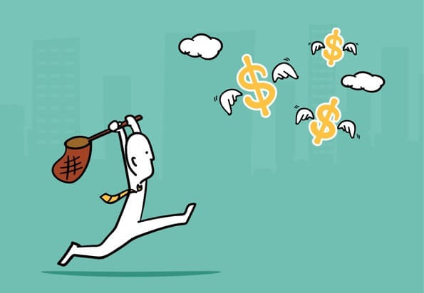 Drawing of a man with a net, racing after flying dollar signs.