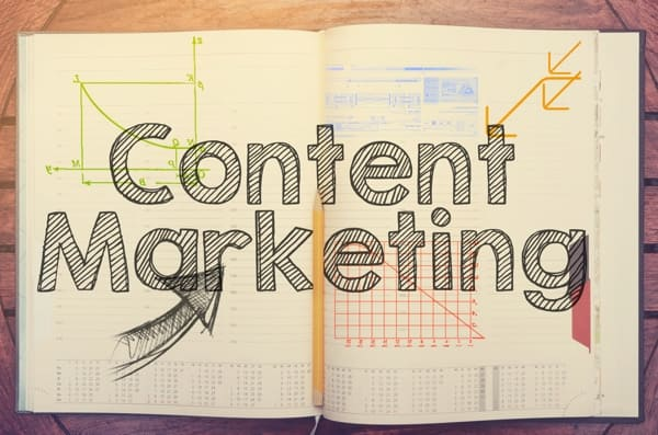 Graphic that says Content Marketing in the foreground, with design images in the background.