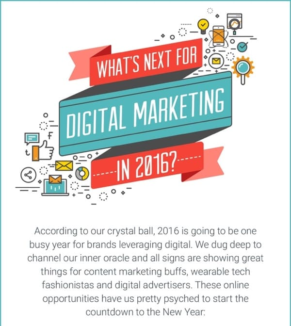 Screenshot of the What's Next for Digital Marketing in 2016 Infographic.