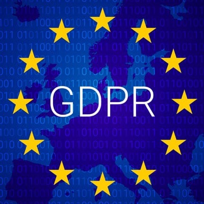 Image of GDPR, surrounded by the stars of the EU flag.