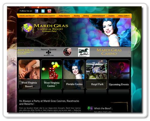 Screenshot of the Mardi Gras Casino website.