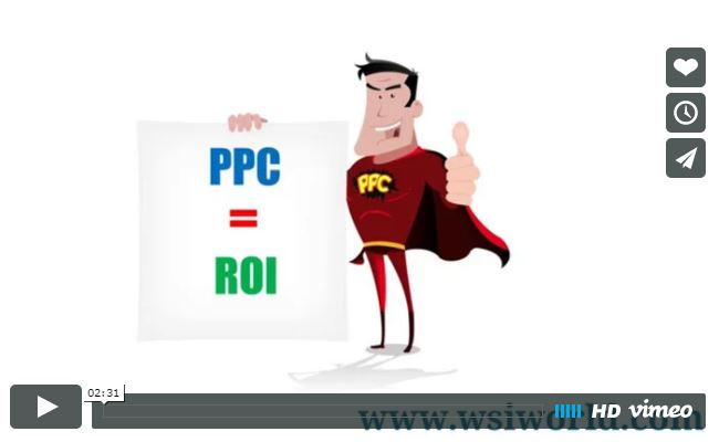 Graphic of a man with a cape, holding up a sign that says PPC = ROI.