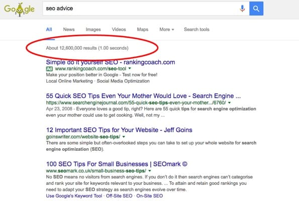 Screenshot of a Google Search Engine Results page.