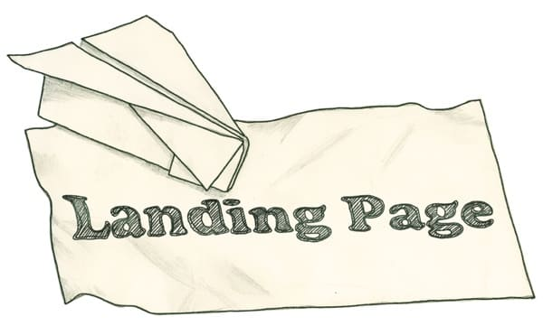 Paper airplane, with Landing Page written on it.
