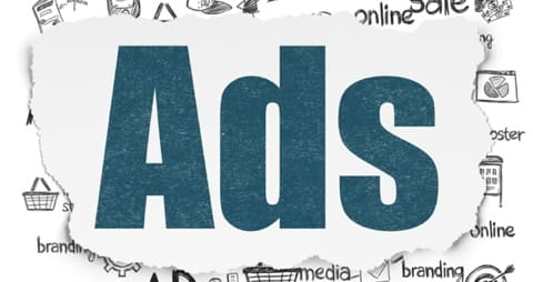 Graphic that says Ads in blue writing.