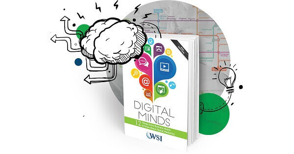 Drawing with the cover of the Digital Minds book.
