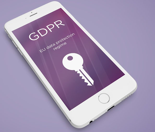 Image of cell phone with GDPR and a key on the screen.
