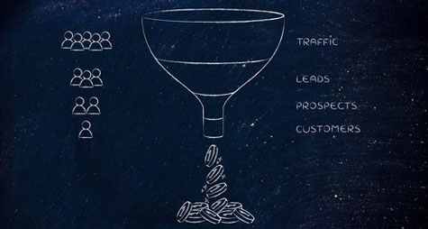 Drawing of a funnel, with coins coming out of the bottom.