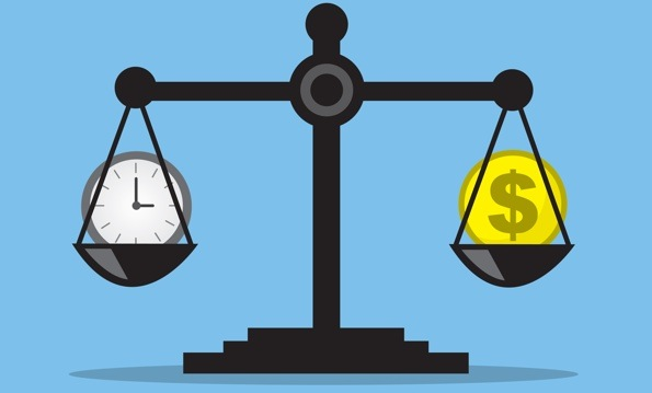 Graphic of a black balance with a clock icon and a money icon perfectly balanced.