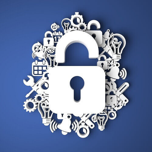 Image of a padlock, surrounded by technology icons.
