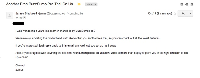 Email from BuzzSumo