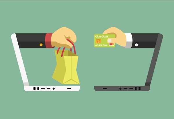 Vector image two laptops with two hands exchanging goods and money